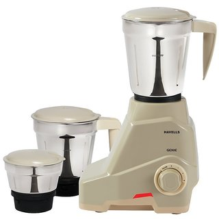 Havells Genie 500-Watt Mixer Grinder (Grey) with 3 Jars