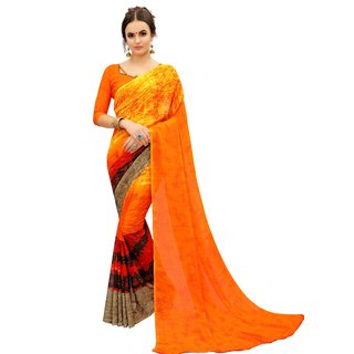 Siha Enterprises Women's Georgette Orange Color Saree With Blouse Piece