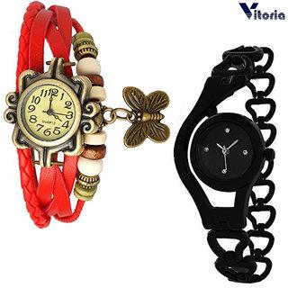 Vitoria Womens Fashionable  Watch Combo(Pack of 2)