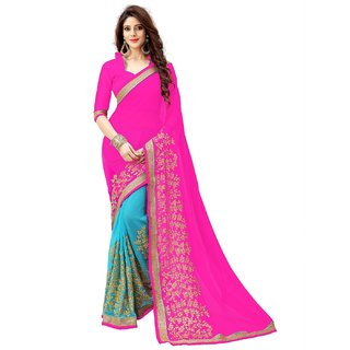 Siha Enterprises Women's Georgette  Pink  Saree With Blouse Piece