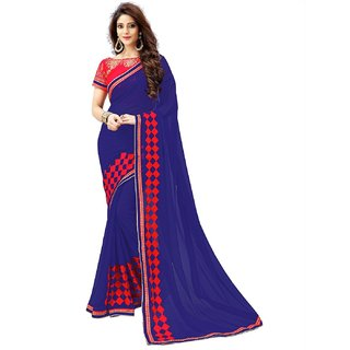 Siha Enterprises Women's Georgette Blue And Red Color Saree With Blouse Piece