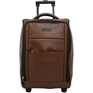 BagsRUs Tan Faux Leather 36L Cabin Luggage Overnight Travel Trolley Bag (CA114FTA)