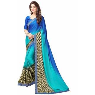 Siha Enterprises Women's Kasturi Silk Blue Color  Saree With Blouse Piece