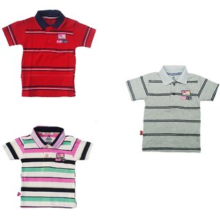 Multicolor Striped Cotton Polo T-Shirt (Pack of 3) for Kids and Boys by ORGFASHION