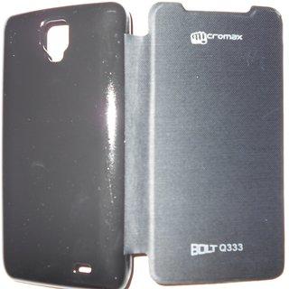 size 40 7ee02 325f7 Micromax Bolt Q333 Flip Cover - Black