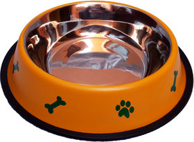 Petshop7 Stylish - Regular Anti Skid Dog Food Bowl / Dog Bowl (1600ML, Yellow) (Large)