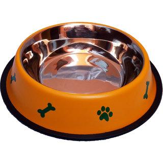 Petshop7 Stylish - Regular Anti Skid Dog Food Bowl / Dog Bowl (1600ML, Yellow) (Large)