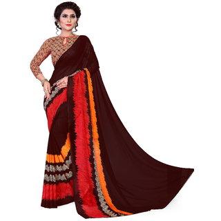 Siha Enterprises Women's Reniyal Fabric Brown Color Saree With Blouse Piece