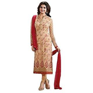 Ap Enterprise Women Faux Georgette Anarkali Semi-Stitched Salwar Suit (ERTY10730BeigeFree Size)