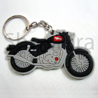 Royal En field Bullet Soft Rubber Keychain Keyring single sided best Collectible