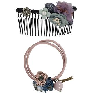 Bijou Vertex Limited Edition Light Grey Vintage Floral Hair Comb & Pony Hair Accessory Set