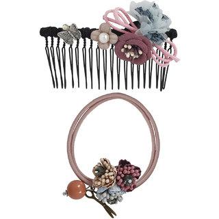 Bijou Vertex Limited Edition Mauve Vintage Floral Hair Comb & Pony Hair Accessory Set