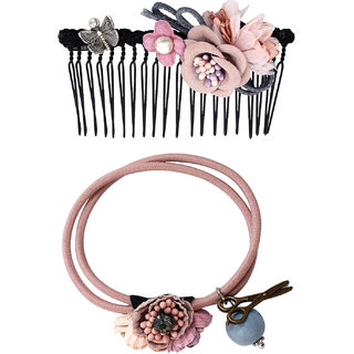 Bijou Vertex Limited Edition Dusty Rose Vintage Floral Hair Comb & Pony Hair Accessory Set
