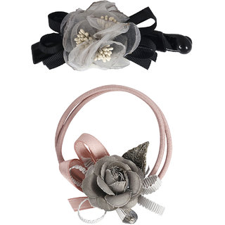 Bijou Vertex Limited Edition Steel Grey Vintage Floral Barrette Hair Clip & Pony Hair Accessory Set