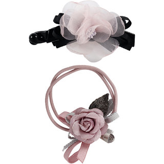 Bijou Vertex Limited Edition Dusty Rose Vintage Floral Barrette Hair Clip & Pony Hair Accessory Set