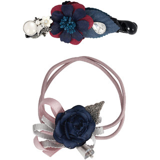 Bijou Vertex Limited Edition Navy Vintage Floral Barrette Hair Clip & Pony Hair Accessory Set