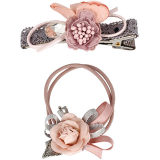 Bijou Vertex Limited Edition Pink Vintage Floral Hair Clip & Pony Hair Accessory Set
