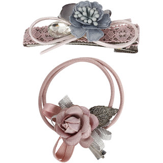 Bijou Vertex Limited Edition Dusty Rose Floral Vintage Hair Clip & Pony Hair Accessory Set