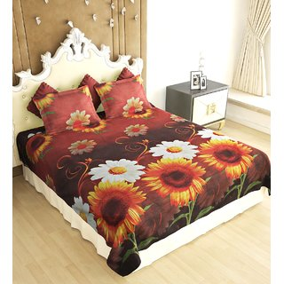decf4340fe Home Berry Floral Polycotton Peach Finish Double Bed Sheet With Two Pillow  Cover