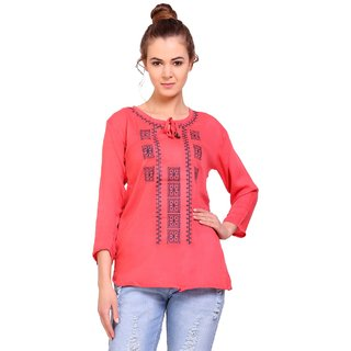 BuyNewTrend Women's Pink Embroidered Crepe Round Neck Tunics