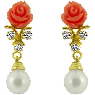 Sri Jagdamba Pearls Pink Cz Rose Pearl Hangings
