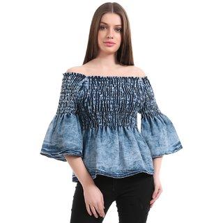 c7306c9b9fd9e Buy Girls Shopping DENIM Off-Shoulder Top For Girls Women Online ...