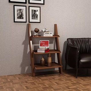 Onlineshoppee Escalera Leaning Bookcase Ladder and Room Organizer Engineered Wood Wall Shelf - Brown & Buy Onlineshoppee Escalera Leaning Bookcase Ladder and Room ...