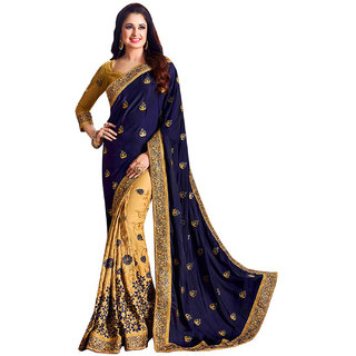 c9cba70b94018c Buy Geet Fashion Solution Blue Embroidered Silk Saree With Blouse Online -  Get 60% Off