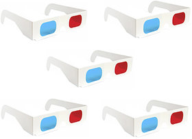 5 Pcs 3D Paper Ana-Glyph Glasses Red/Blue. New Printed  Coated. AnaGlyph