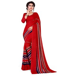 Siha Enterprises Women's Reniyal Fabric Red  Color Saree With Blouse Piece