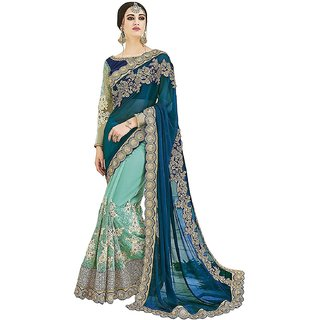 520d33e9c63ffd Buy Geet Fashion Solution Blue Embroidered Silk Saree With Blouse ...