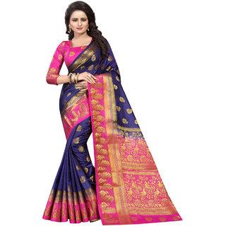 Saarah Blue  Pink Kanchipuram Silk Saree