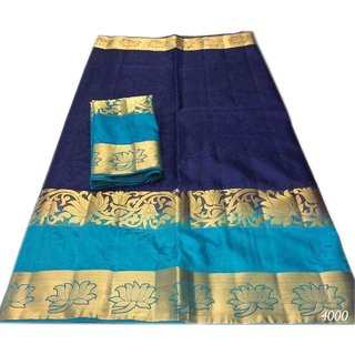 be5602b2d51173 Buy Satyam Weaves Women s Ethnic Wear Banarasi Cotton Silk Dark Blue Colour  Saree. Online - Get 77% Off