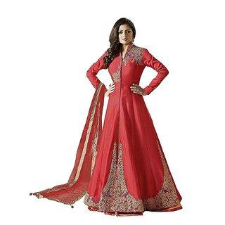 ad9ef9b60082 Buy Ap Enterprise Women Taffeta Silk Anarkali Semi-Stitched Salwar Suit  (ERTY10754RedFree Size) Online - Get 60% Off