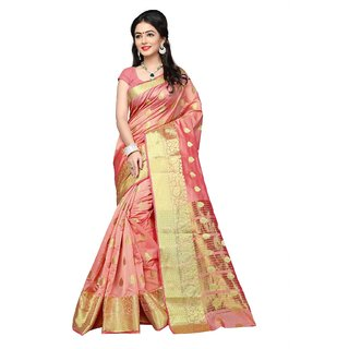 Pemal Designer Peach Cotton Banarasi Silk Saree With Running Blouse Pics RJM1129A