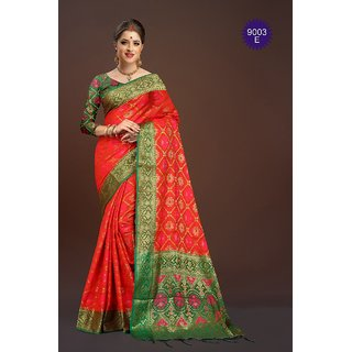 0c2491e11f02c Buy Greenvilla Designs Red Banarasi Silk Saree With Blouse Online - Get 66%  Off