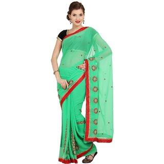 Sofi Women's Solid Green Synthetic chiffon Sari