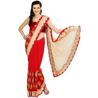 Sofi Women's Solid Red Synthetic Sari