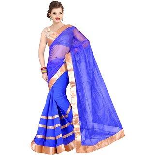 Sofi Women's Solid Blue Net Sari