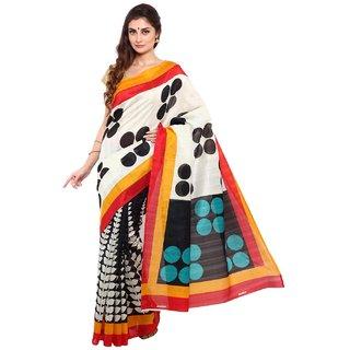 Sofi Women's Solid Black Bhagalpuri silk Sari