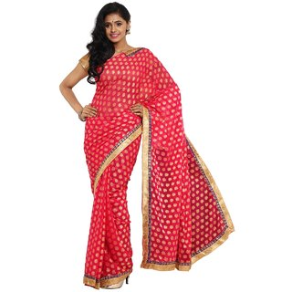 Sofi Women's Solid Pink Brasso Fabric Sari