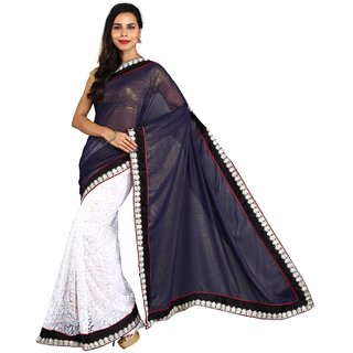 Sofi Women's Solid Blue Georgette Sari