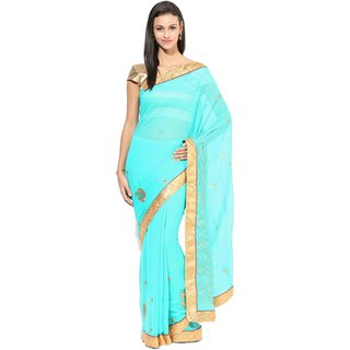 Sofi Women's Solid Green Chiffon Sari