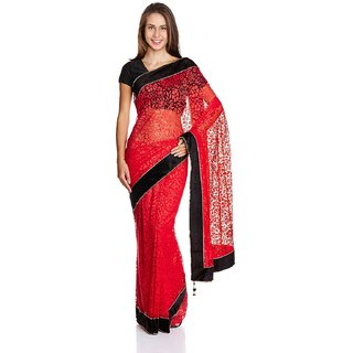 Sofi Women's Solid Red Brasso Fabric Sari