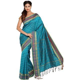 Sofi Women's Striped Green Mysore Art silk Sari
