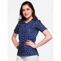 Smarty Pants Women Blue Polka Dots Shirt Collar Shirt S