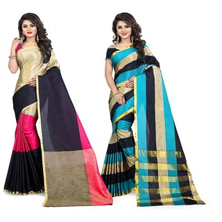 Jayant Creation Women's Multicolor Plain Cotton Saree With Blouse (Pack of 2)
