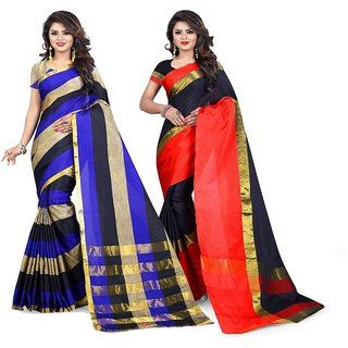 57b7c44194 Buy Jayant Creation Women's Multicolor Plain Cotton Saree With Blouse (Pack  of 2) Online - Get 65% Off