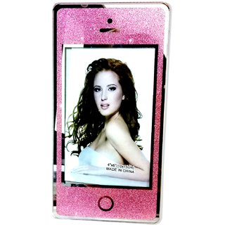 Photo Frame In Mobile Shape In Glass Pink