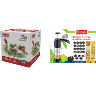 Salad King  (20 Blades ) WITH  Magic Press (Alloy  ABS Body) With 21 Blades